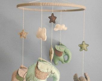 Elephant nursery mobile - felt nursery mobile - Dream Big Little One - elephant gift for baby - newborn baby gift - cloud nursery mobile