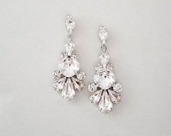 Wedding Earrings - Chandelier Bridal Earrings, Vintage Wedding, Crystal Earrings, Dangle Earrings, Wedding Jewelry - ALANNA