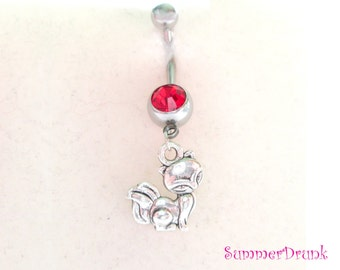 Fox belly button ring , Navel ring, Belly button Jewelry, Belly button piercing, Belly button ring