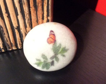 Butterfly on a natural, polished riverstone.