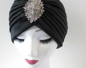 Black & Silver Rhinestone Embellished Turban Vintage Flapper Dress 1920s 1930s Headpiece Diamante Downton Abbey Cloche Hat Headdress Q21