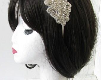 Silver Beaded Rhinestone Dress Headband Bridesmaid Bridal Vintage 1920s Ivory 1930s Headpiece Diamante Flapper Great Gatsby PromR47