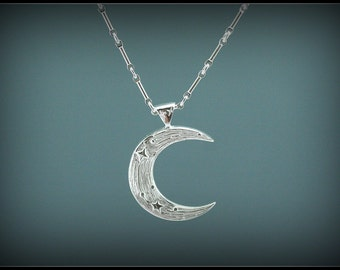 Moon pendant, silver moon pendant, silver crescent moon necklace, star and moon jewelry, handmade, artistic