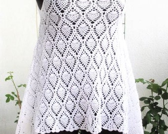 Crochet Tunic White Tunic Crocheted Tunic Handmade Tunic Summer Tunic Summer Top