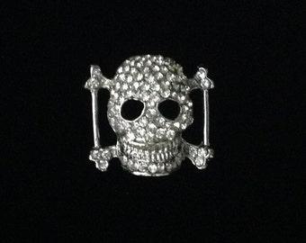 Crystal Rhinestone Skull Buckle Slider