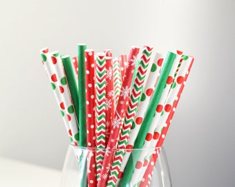 CHRISTMAS JOY Paper Straws - 25 per pack // Holiday Party Decor // Red and Green Party Decor // Party Supplies and Decor