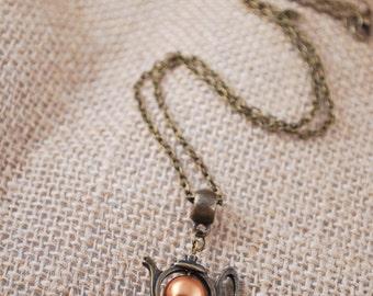 Teapot bronze tone necklace, everyday minimalist pendant necklace, tea party, tea lovers, gift idea