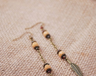 Long chain earrings - SUMMER SALE - Hippie beaded earrings, boho feather bronze tone earrings, unique earrings, bridesmaids gift.