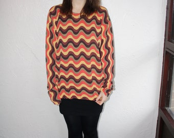 SALE - Vintage 80s Zig Zag Patterned Top w/ Beaded Neck Detail Size Small (10-12)