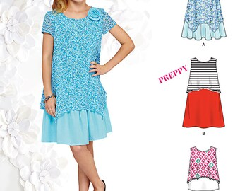 Simplicity 1175 Girls Top, Dress and Shorts. by SUEDEsays. Size 8-16. Pattern is new and uncut.