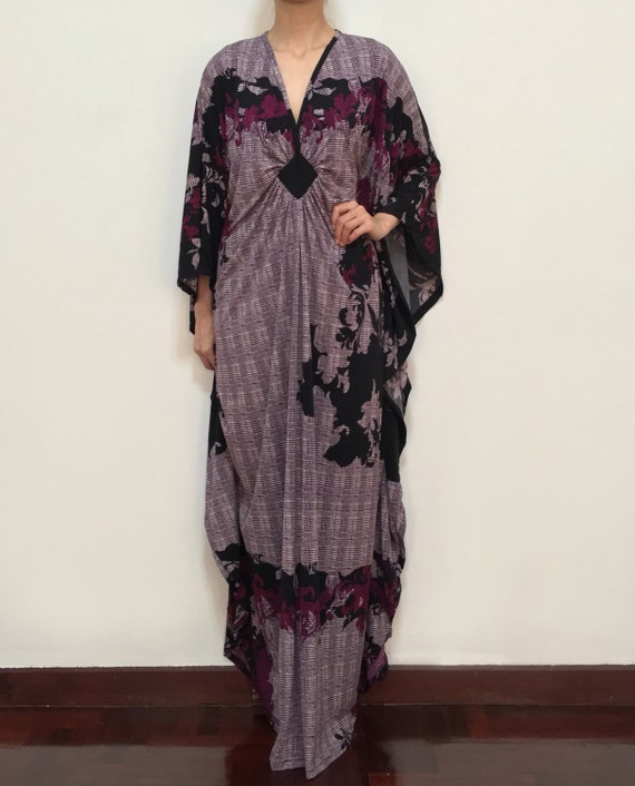 plus size maxi kaftan dresses black purple flower baby shower wedding