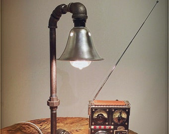 Items similar to gas pipe oil lamp on etsy for Gas pipe desk lamp