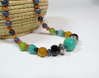 Multi color jade necklace, Handmade graduated beads necklace, Boho chic, Gift for her