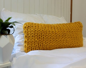 Set of 2 Extreme Handknitted Mustard decorative pillows