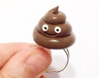 Happy poop ring,Happy poop emoji,Poop jewelry,Cute poop ring,Dog poop ring,Funny gag gift,Emoji jewelry,Kawaii rings,Funny poop emoji ring