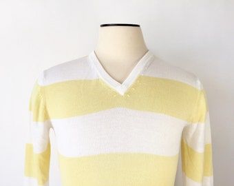 Vintage V-neck Sweater / 1960s Sweater / Striped Sweater / Yellow & White Sweater / Medium Sweater / Fine Wool Sweater