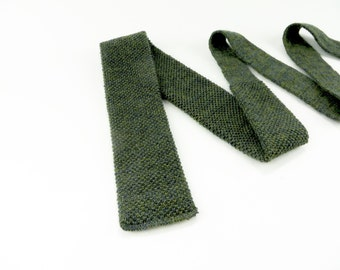 Vintage 1960's Square Knit Tie / Vintage Rooster Knit Tie / Square End Tie / Wool & Mohair