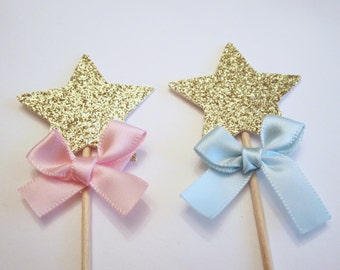Twinkle Twinkle Little Star Gender Reveal Cupcake Topper Gold Glitter Star Cupcake topper Pink and Blue