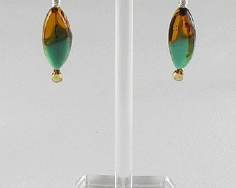 Square Earrings - Amber And Turquoise & Silver Marquise (E086)