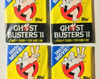 4 1989 Vintage Topps Ghostbusters 2 wax packs trading cards stickers