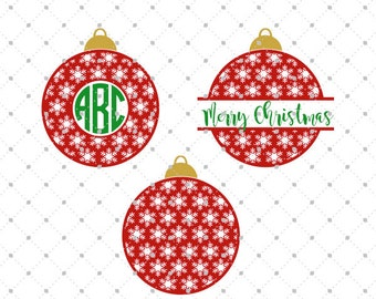 Christmas Ornaments SVG Cut Files, Christmas Monogram Frame SVG Cut Files for Cricut, Silhouette and other Vinyl Cutters, svg files