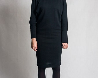 Black evening dress / Bat sleeve dress / Leather details dress / Elegant dress / Black pencil dress / Long sleeves black dress / Fasada 1592
