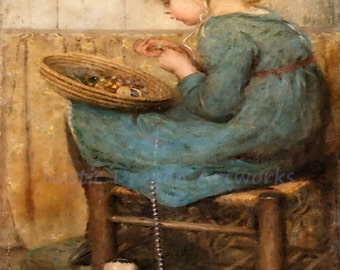 "Sara McGregor ""Stringing the Beads"" 1913  Reproduction Digital Print Young Girl String Beads Beading"