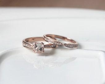 Unique Wedding Ring Set 14K Rose Gold Morganite Ring Set 5mm Round Cut Morganite Engagement Ring & Wedding Band/Anniversary Ring Bridal Set