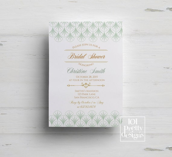 Mint art deco bridal shower invitation printable shower invitation il570xn filmwisefo