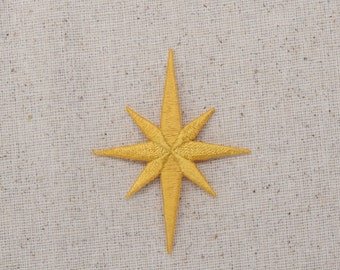 Yellow Gold - Nativity Star - Star of Bethlehem - SIZE CHOICE: Small or Large - Iron on Applique - Embroidered Patch -