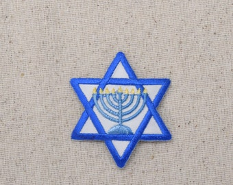 Star of David - Menorah - Candelabra - 9 Lights - Chanukah - Iron on Applique - Embroidered Patch - 695873-A