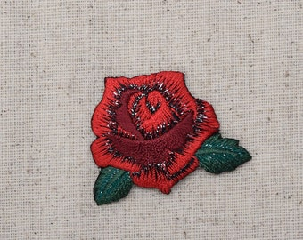 Medium - Red Rose - Open Petals - Flower - Iron on Applique - Embroidered Patch - 153109A