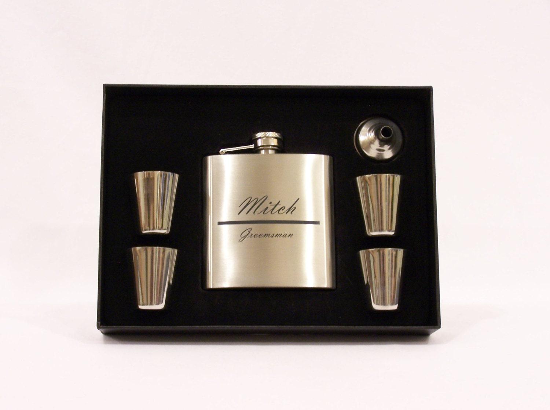 Engraving Wedding Gifts: Laser Engraved Flask Set Weddings Gift Bridesmade Gift