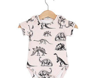 Cream Dinosaur Organic Baby Onesie, baby onesie, baby bodysuit, baby onepiece, baby clothes, organic cotton