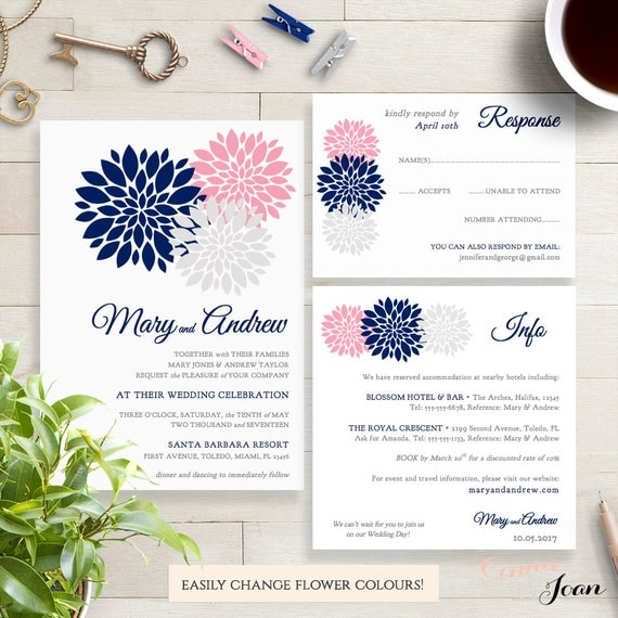 Navy Blue Pink Blush Silver Wedding Invitation By
