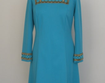 1960's Turquoise Jeannie Jersey Dress