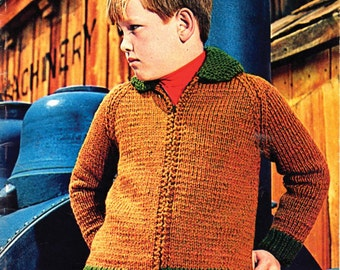 Retro Boys 60s Sweater Jacket Knitting Pattern for Sizes 4 - 14