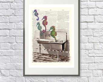 Seahorses in the Sink - Vintage upcycled handmade dictionary Print - Suitable for the Bathroom - Surreal