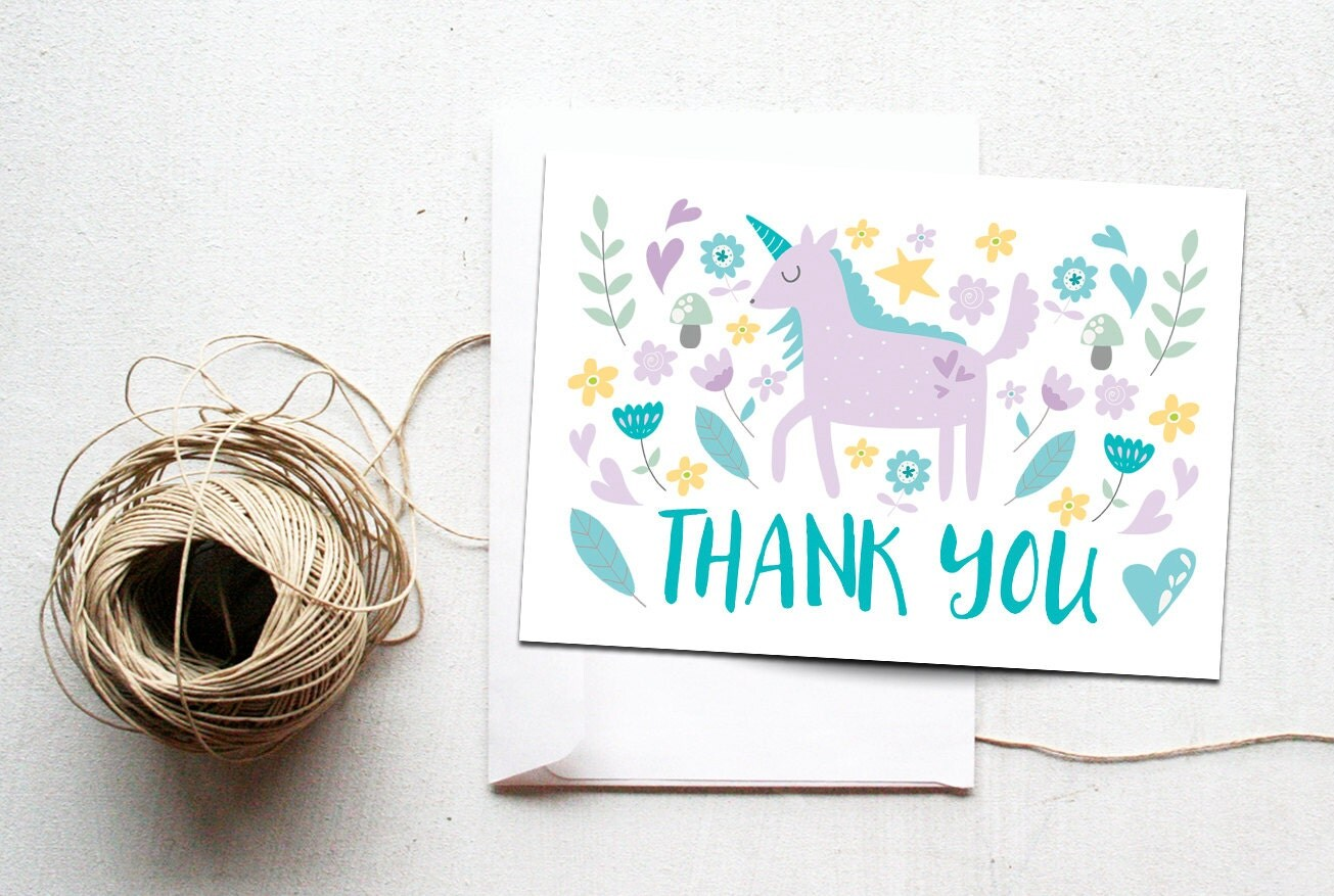 unicorn thank you card printable instant download whimsical