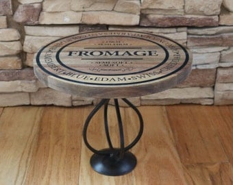 """Wood """"Fromage"""" Motif Elevated Upcycled Cheese Display Tray / Platter / Stand"""