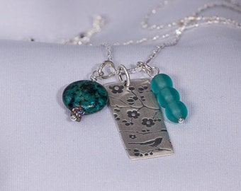 Medium sized Charm Necklace Sterling Silver 925