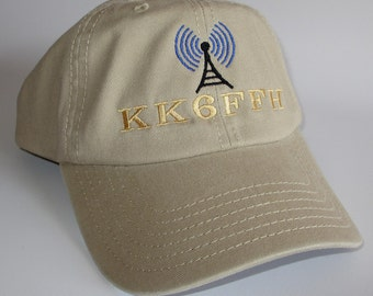 "Custom embroidered hats / caps, ""HAM RADIO HAT""  with radio antenna and your callsign"