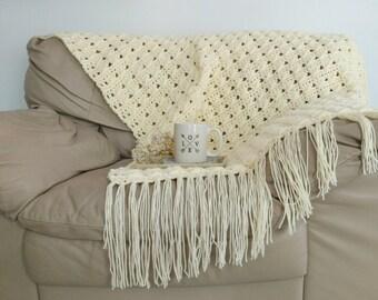 CROCHET PATTERN - Textured Fringe Crochet Blanket Instant Download Pattern, Chunky Afghan DIY Easy Beginner Throw by BrennaAnnHandmade