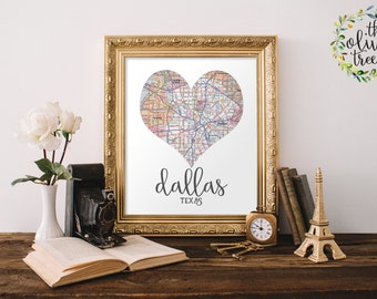 Heart Map print, printable map wall art decor, INSTANT DOWNLOAD - Dallas, Texas