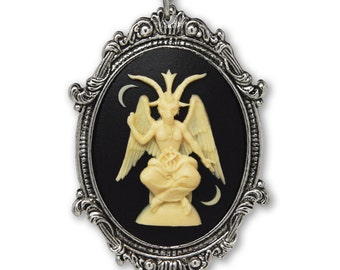 Baphomet Cameo In Silver Finish Frame Goat Head Satanic Necklace Pendant Ivory on Black NK-674
