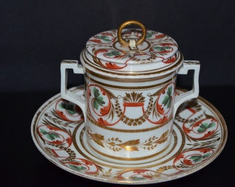 Antique DERBY Chocolate Cup Saucer & Lid Imari Pattern English Porcelain Double Handle Cup Cover Stand c.1806 Early 19th Century Decor