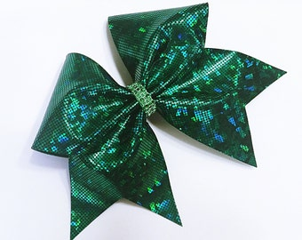 Forest green black cheer bow, Cheer bow, cheerleading bow, cheerleader bow, cheer bows, softball bow, cheerbows, hair bow, shattered glass