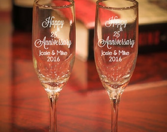 Anniversary Champagne Glasses, Etched 25th Anniversary Gift, Wedding Anniversary Champagne Flutes, 25th Anniversary, Anniversary Gift