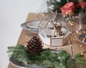 Geometric Terrarium Container, Glass Indoor Planter, Copper Wedding Centerpiece, Stained Glass Home Decor, Tabletop Decor, Copper Terrarium