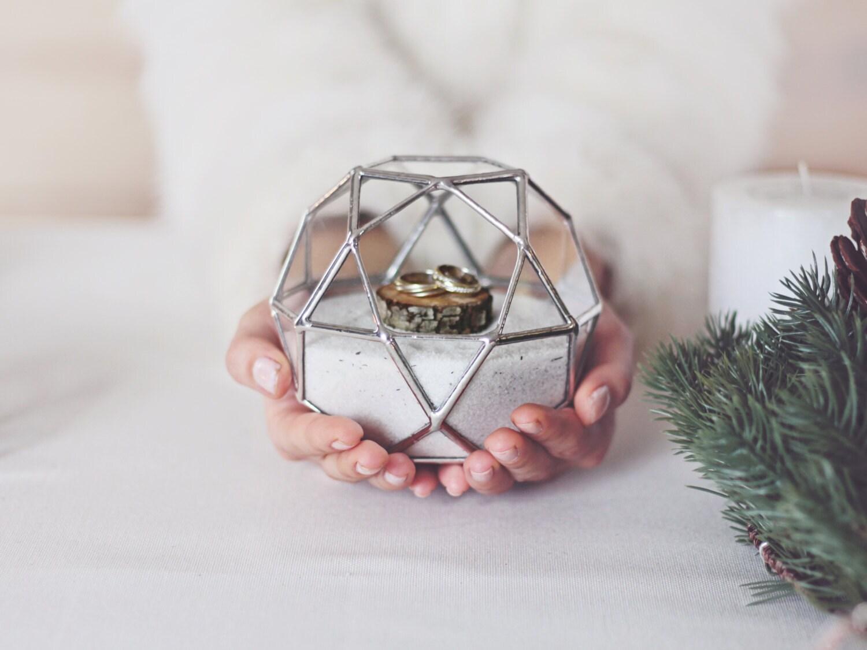 Ring Bearer Box Geometric Wedding Band Box Glass Box Ring